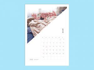 2021年月別カレンダー_ねこ_卓上サイズ