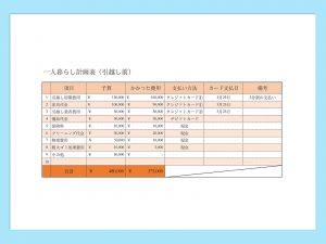 【WPS Spreadsheets】一人暮らし計画表(一人暮らし前)