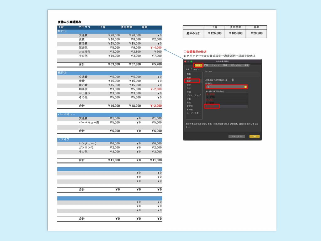 【WPS Spreadsheets】夏休み予定管理表(予算)